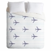 Airplanes And Stripes Duvet Cover