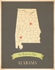Alabama My Roots State Map Art Print - Blue