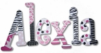 Alexia Funky Princess Hand Painted Wooden Hanging Wall Letters