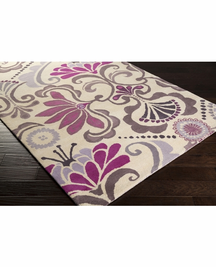 Alhambra Whimsical Floral Rug in Mauve