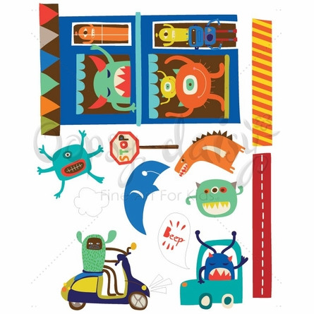 Alien Invasion Small Peel & Place Wall Stickers