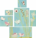 All a Twitter - Blue - Canvas Wall Arts - Set Of 6