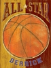 All Star Basketball Vintage Wood Sign
