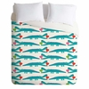 Alligator Love Aqua Lightweight Duvet Cover
