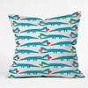Alligator Love Aqua Throw Pillow