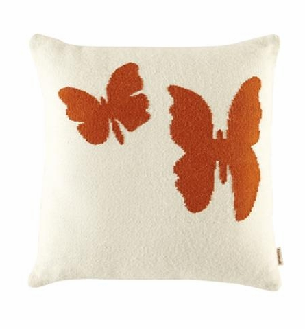 Alpaca Butterfly Throw Pillow in Orange