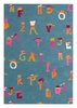 Alphabet Hats Rug in Blue