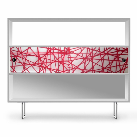 Alto Bookshelf with Red Strands Panels