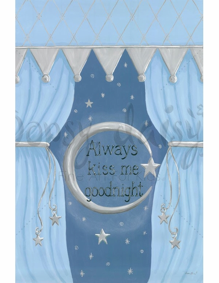 Always Kiss Me Goodnight Blue Canvas Wall Art