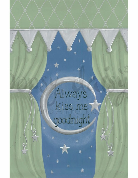 Always Kiss Me Goodnight Green Canvas Wall Art