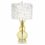 Amber Clear Calabaza Base Lamp With White Rose Garden Drum Shade