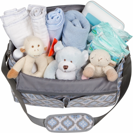 Amber Tote Diaper Bag in Sky Blue Montage