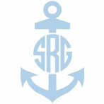 Anchor Single Color Circle Monogram Car Decal
