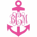 Anchor Single Color Interlock Monogram Car Decal