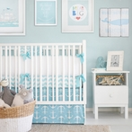 Anchors Away in Aqua Crib Bedding Set