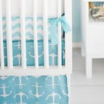 Anchors Away in Aqua Crib Skirt