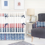 Anchors Away in Navy Crib Bedding Set