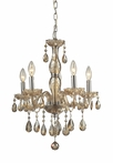 Angelique Five Arm Chandelier in Amber Teak