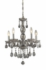Angelique Five Arm Chandelier in Silver Smoke