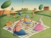 Animal Picnic Canvas Wall Art