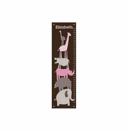 Animal Pile Up - Pink Growth Chart