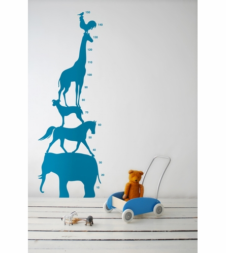 Animal Tower Kids Wall Sticker in Blue