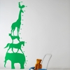 Animal Tower Kids Wall Sticker in Green