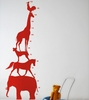 Animal Tower Kids Wall Sticker in Red
