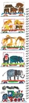 Animals and Steam Train Canvas Growth Chart