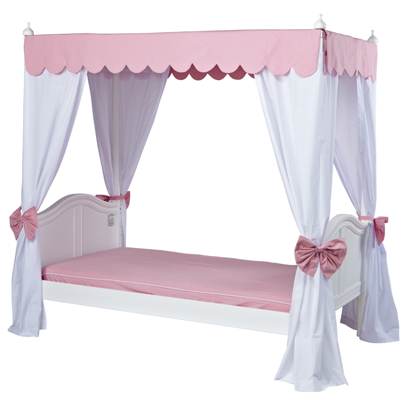 pics photos twin metal canopy bed pink with curtains
