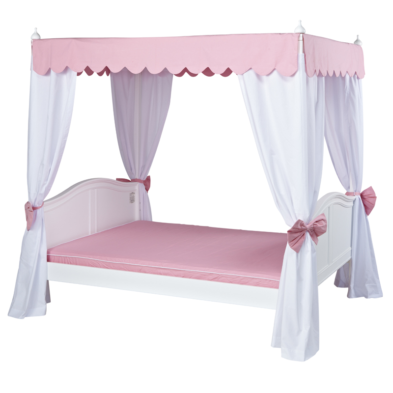 Pink Canopy Bed : Goldilocks Poster Bed with Pink Scallop Canopy and Curtains