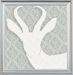 Antelope Silhouette Framed Canvas Reproduction
