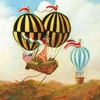 Antique Balloon Giraffe Canvas Wall Art