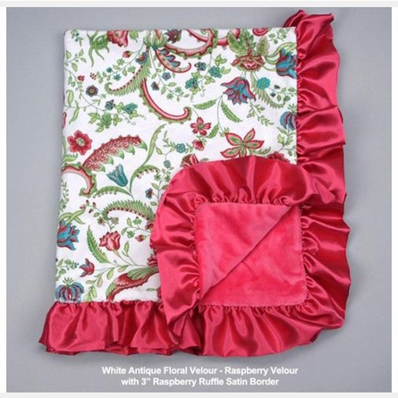 Antique Floral Velour Baby Blanket with Satin Ruffle