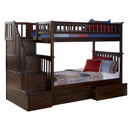 Antique Walnut Classic Arch Slatted Bunk Bed with Stairs