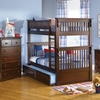 Antique Walnut Classic Panel Slatted Twin Bunk Bed
