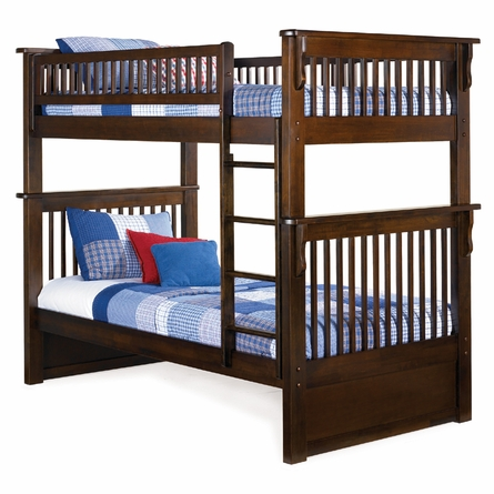 Antique Walnut Classic Panel Slatted Bunk Bed