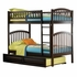 Antique Walnut Modern Curved Slatted Twin Bunk Bed