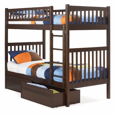 Antique Walnut Modern Slatted Bunk Bed