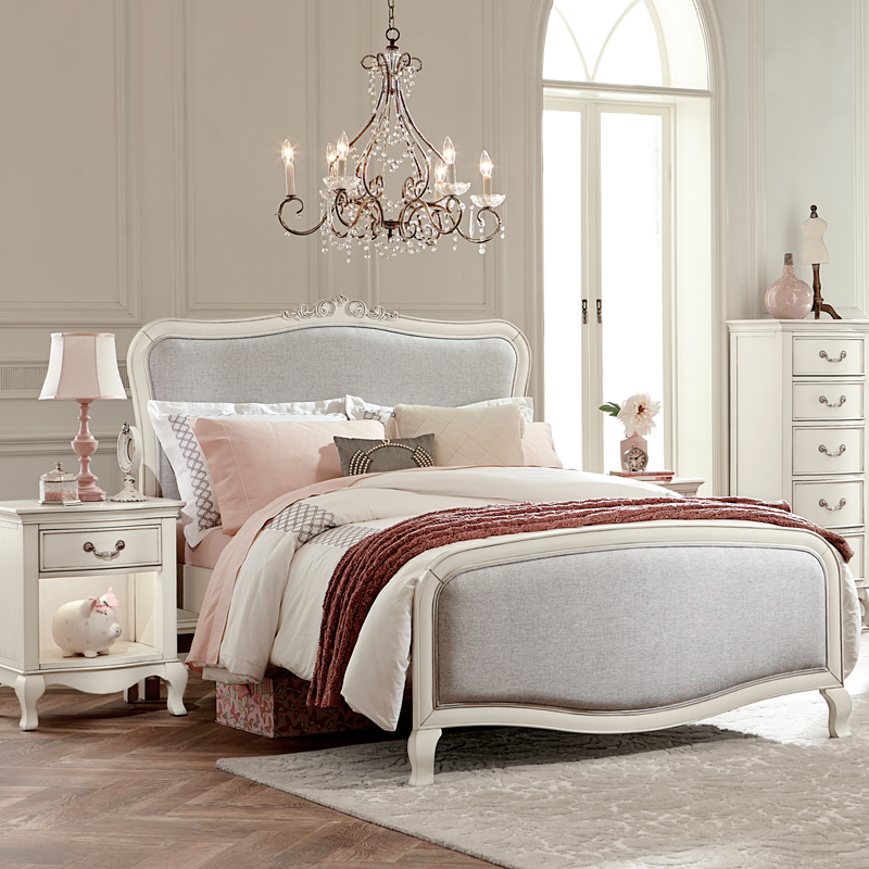 Antique White Katherine Upholstered Bed Rosenberryrooms Com
