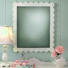 Antique White Scalloped Mirror