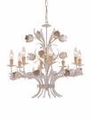 Antique White Wrought Iron Large Chandelier