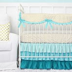 Aqua and Gold Dot Ruffle Crib Bedding Set