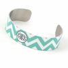Aqua and Gray Chevron Monogram Thin Cuff Bracelet