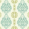 Aqua and Lime Damask Stripe Wallpaper