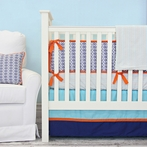 Aqua and Navy Mod Mix Crib Bedding Set