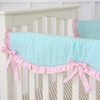 Aqua and Pink Crib Rail Cover