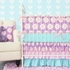 Aqua and Pink Purple Garden Crib Sheet