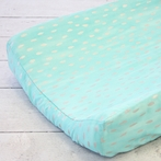 Aqua and Silver Sparkle Changing Pad Cover