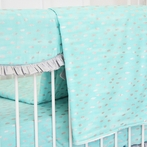 Aqua and Silver Sparkle Crib Blanket